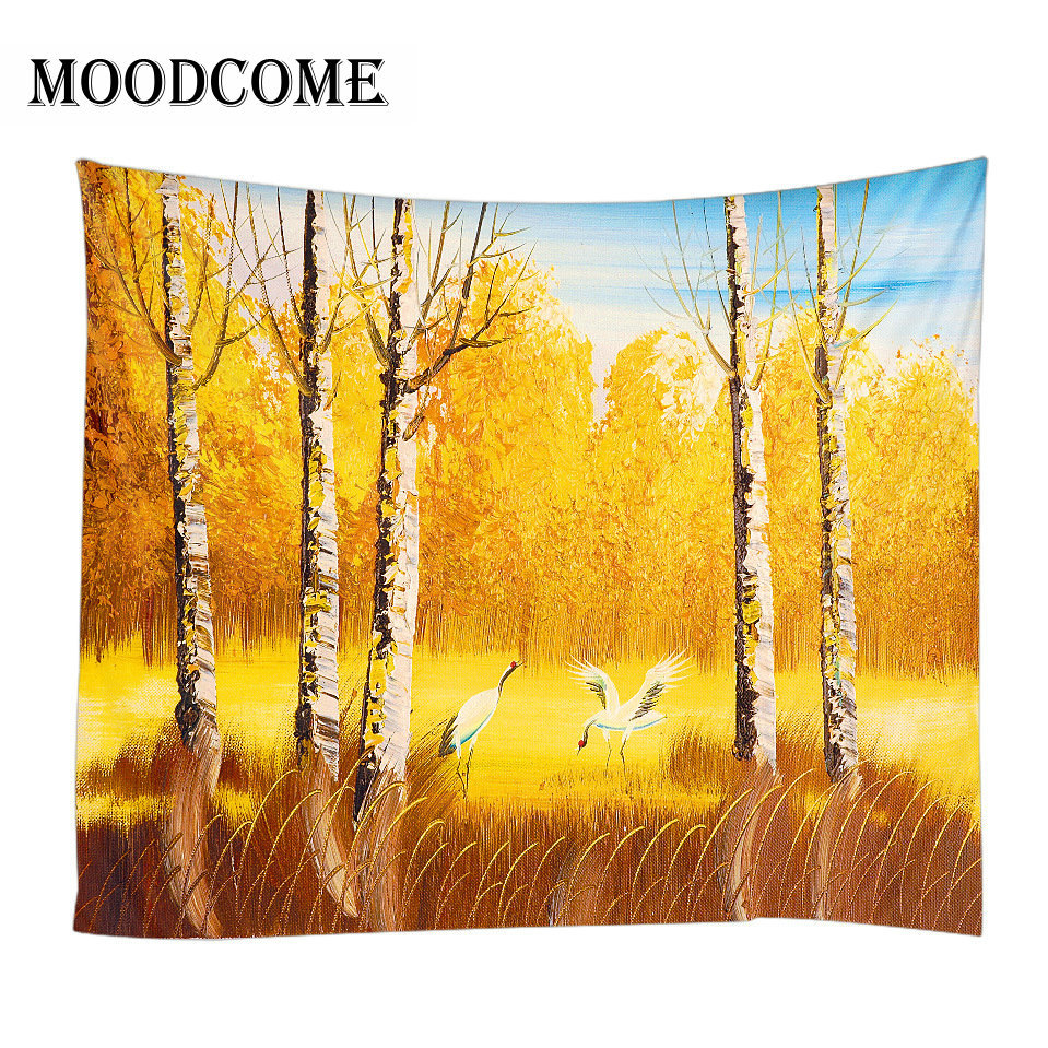 yellow forest tree tapestry wall fabric bedroom decor nature wall carpet tapisserie murale wall hanging image