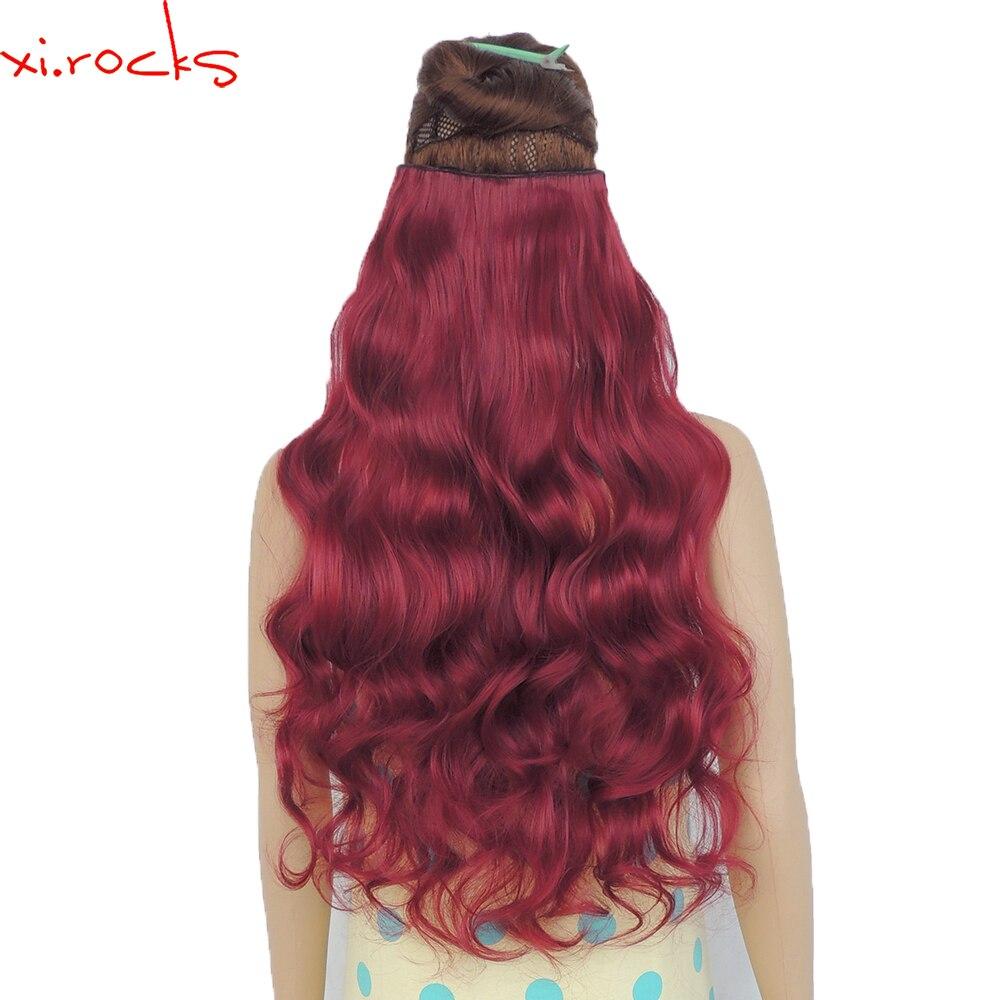 Wjj12070/118c 2 Peça Xi. rochas Clipes na Extensão Do Cabelo Sintético perucas Clipes Extensões Encaracolado peruca Hairpin Cor Vermelho Escuro
