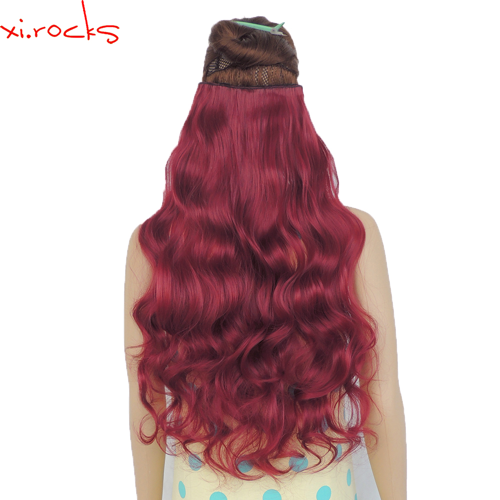 wjj12070/118c 2Piece Xi.Rocks Clips in Hair Extension Synthetic wigs Clips Extensions Curly Hairpin wig Dark Red Color title=