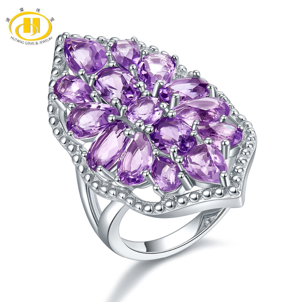 Hutang Silver Engagement Ring Natural Gemstone Amethyst Solid 925 Sterling Fine Fashion Stone Jewelry For Women's Gift New hutang engagement ring natural gemstone amethyst topaz solid 925 sterling silver heart fine fashion stone jewelry for gift new
