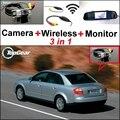 3 in1 Especial Cámara de Visión Trasera + Receptor Inalámbrico + Monitor Del Espejo DIY fácil Sistema de Copia de seguridad de Estacionamiento Para Audi A4 B5 8D 1994 ~ 2001