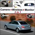 3 in1 Special Rear View Camera + Wireless Receiver + Mirror Monitor Easy DIY Back Up Parking System For Audi A4 B5 8D 1994~2001