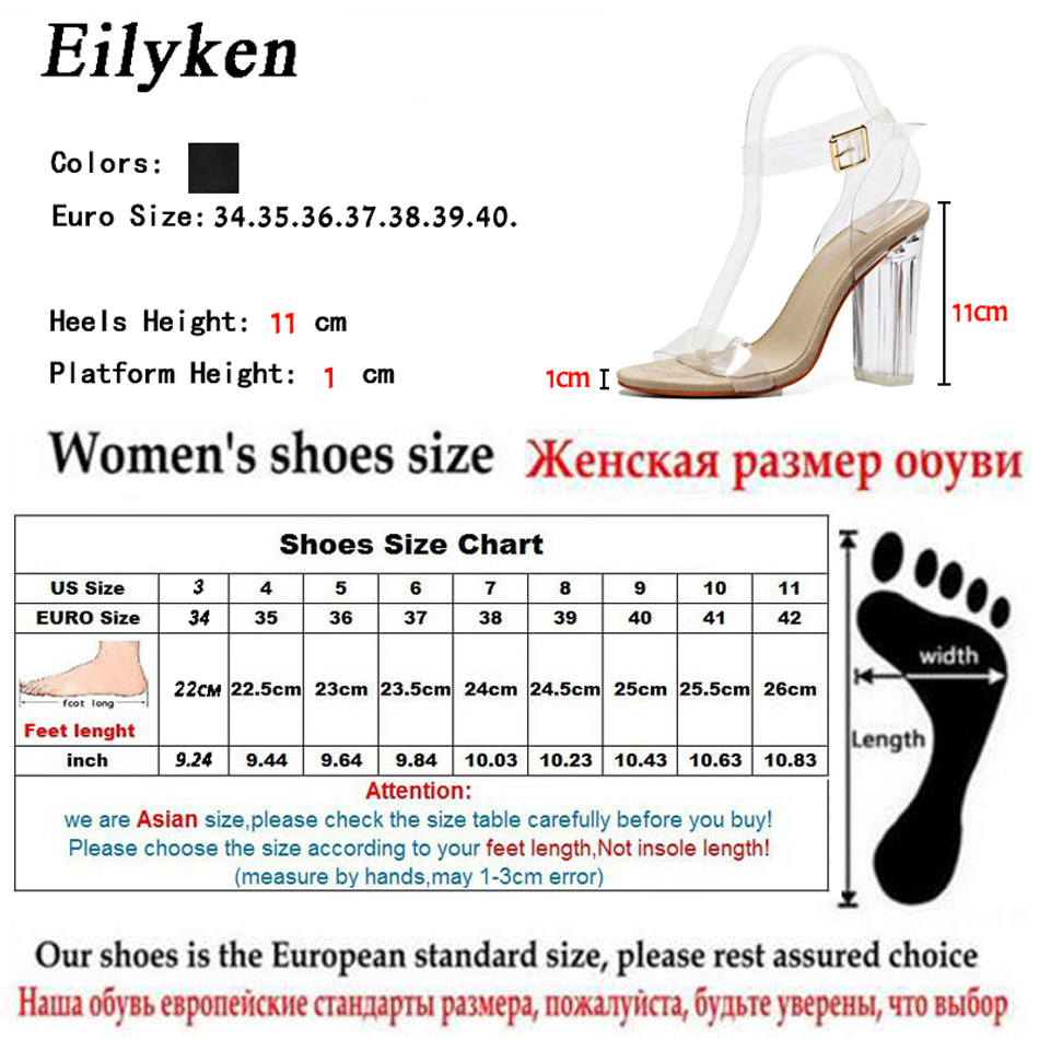 HTB1ct4eh9tYBeNjSspaq6yOOFXaq Eilyken Women Sandals Ankle Strap Perspex High Heels PVC Clear Crystal Concise Classic Buckle Strap High Quality Shoes size35-42