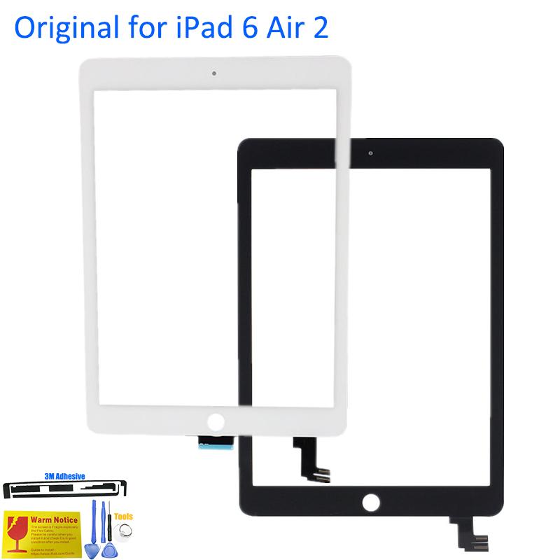 Prix pour ALANGDO Original pour iPad 6 Air 2 A1566 A1567 Apple Touch Écran Digitizer Panneau Avant Écran Tactile de Remplacement Verre Lentille Du Capteur