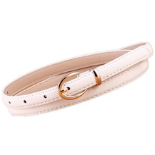 Fashion Womens Leather Belts Candy Color Thin Skinny Waistband Adjustable Belt Women Dress Strap Metal Buckle