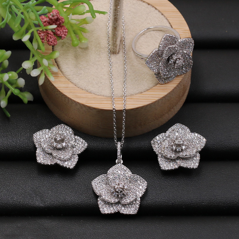 Lanyika Jewelry Set Classic Exquisite Flower Full Micro Paved Necklace with Earrings and Ring for Engagement Luxury GiftsLanyika Jewelry Set Classic Exquisite Flower Full Micro Paved Necklace with Earrings and Ring for Engagement Luxury Gifts