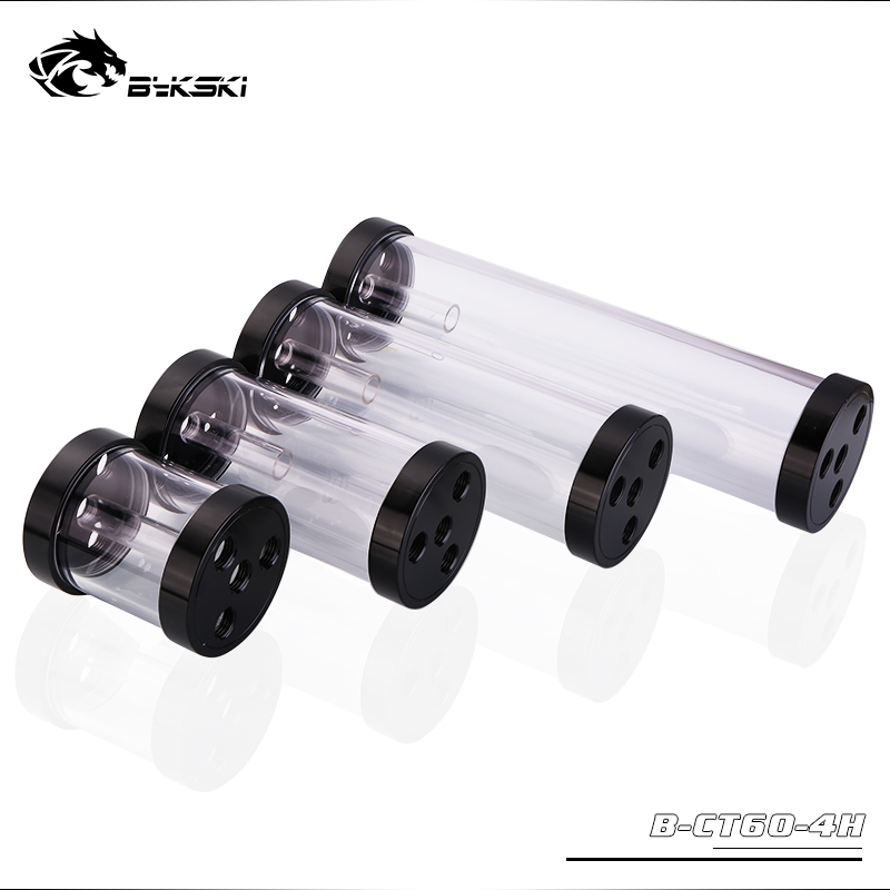 Bykski B-CT60-4H, 60mm Cylinder Reservoirs, Black Aluminum Alloy Cover Acrylic Body, 60mm Diameter 80/130/180/240mm Length