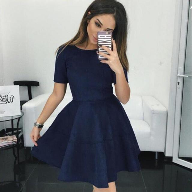 Blauwe jurk korte mouw
