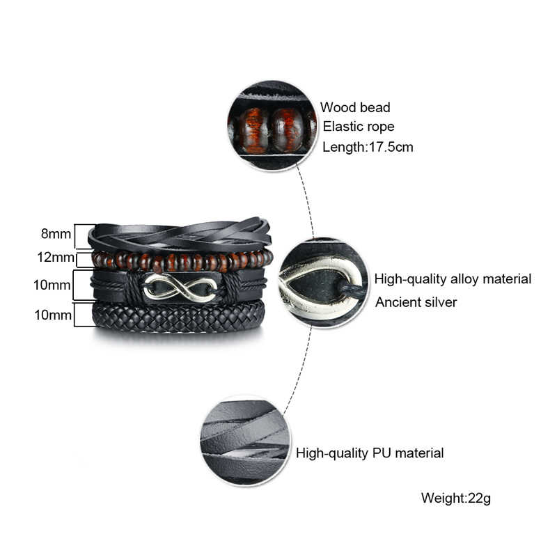 Vnox mix 4 wrap pulseiras homem mulher cabos pretos contas de madeira étnica tribal pulseira de couro pulseiras