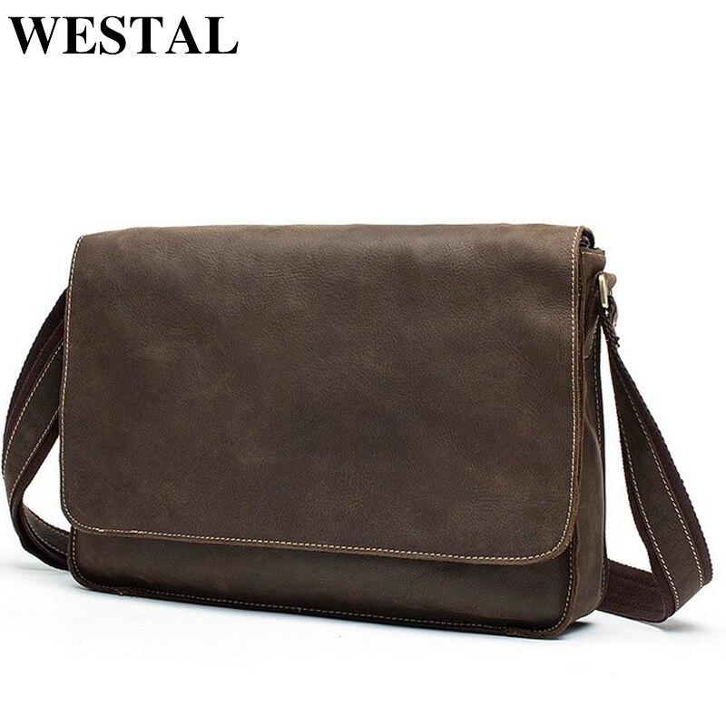 WESTAL Crazy Horse Leather Laptop Bags Messenger Bag Men s Shoulder Bags Genuine Leather Men Totes