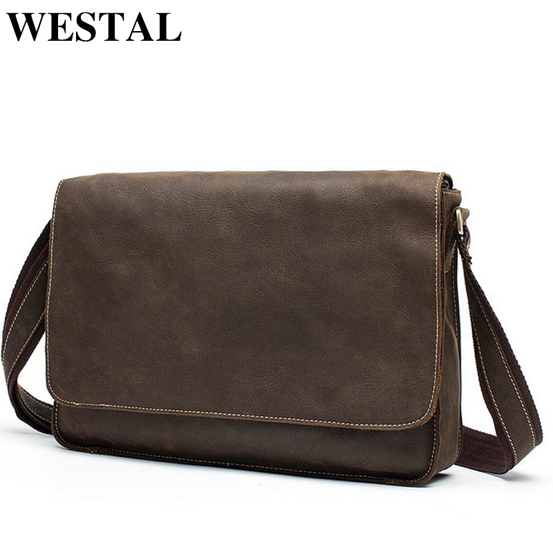 WESTAL Crazy Horse Genuine Leather Men Bag Men's Leather Bag Men Messenger Bags Shoulder Crossbody Bags Man Handbags Briefcase simline 2017 vintage genuine crazy horse leather cowhide men men s messenger bag small shoulder crossbody bags handbags for man