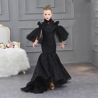 Черное роскошное детское нарядное платье в стиле русалки с высоким воротником и цветочным узором для девочек вечерние платья принцессы на