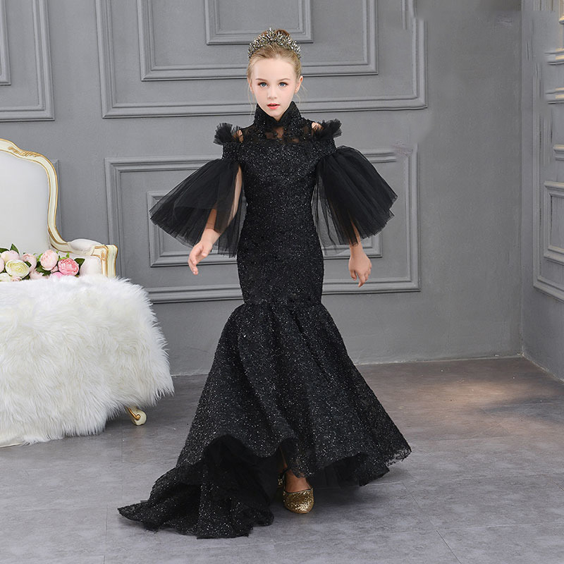 Mermaid Black Luxury Kids Pageant Dress Small Trailing High Collar Flower Girl Dresses Trumpet Princess Birthday Evening Gowns luxury princess dress evening gowns birthday floral pearl beading girls formal dress detatchable trailing flower girl dresses b