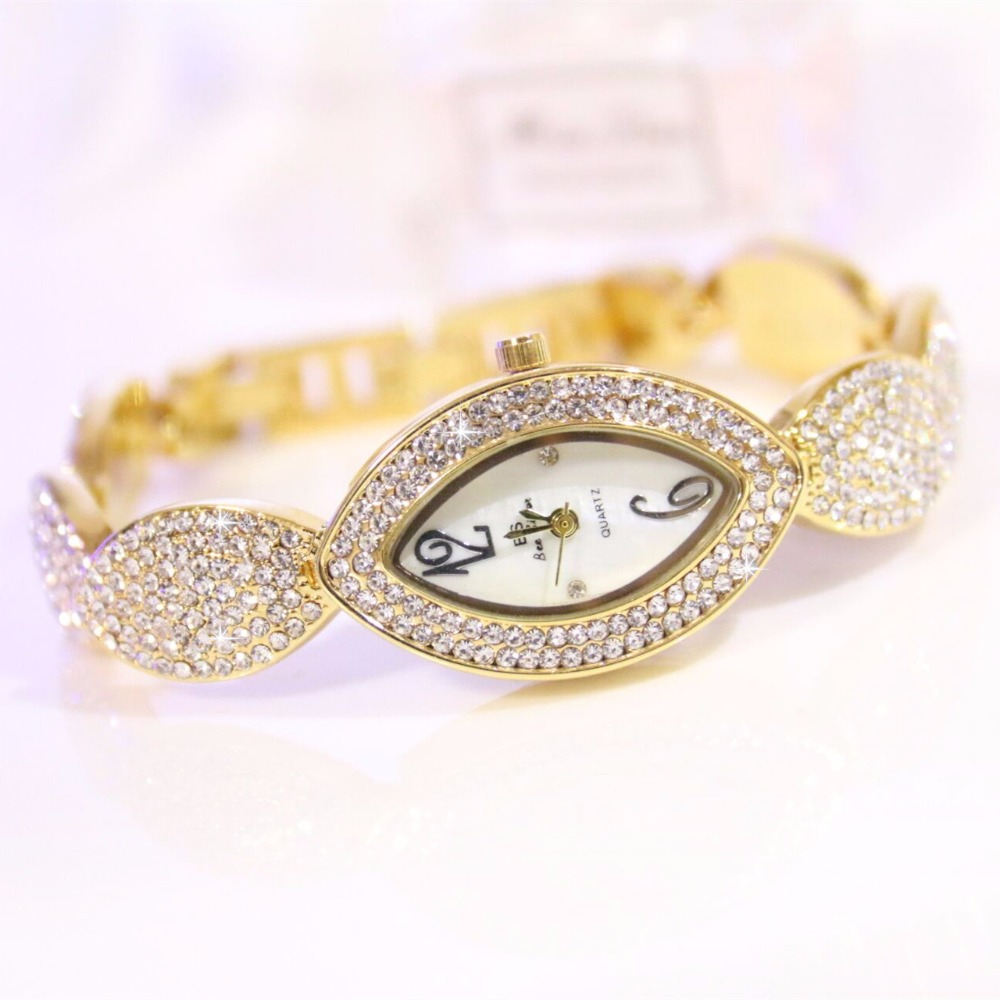 New Arrival Brand BS Luxury Full Diamond Women Watch Lady Eyes Shap 14K Gold Crystal Dress Watch Rhinestone Bangle Bracelet