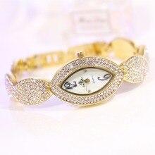 Nueva Llegada Marca BS Llena de Diamantes de Lujo Mujeres Reloj de Señora Ojos Shap 14 K Oro Cristal de Reloj Del Vestido Rhinestone Bangle pulsera