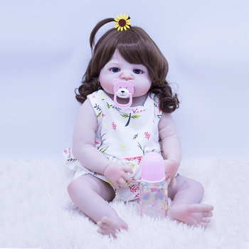 55CM Reborn Baby girl Dolls Micro-rolled hair Babies Doll Full silicone So beautiful real touch play house DIY bonecas bebe