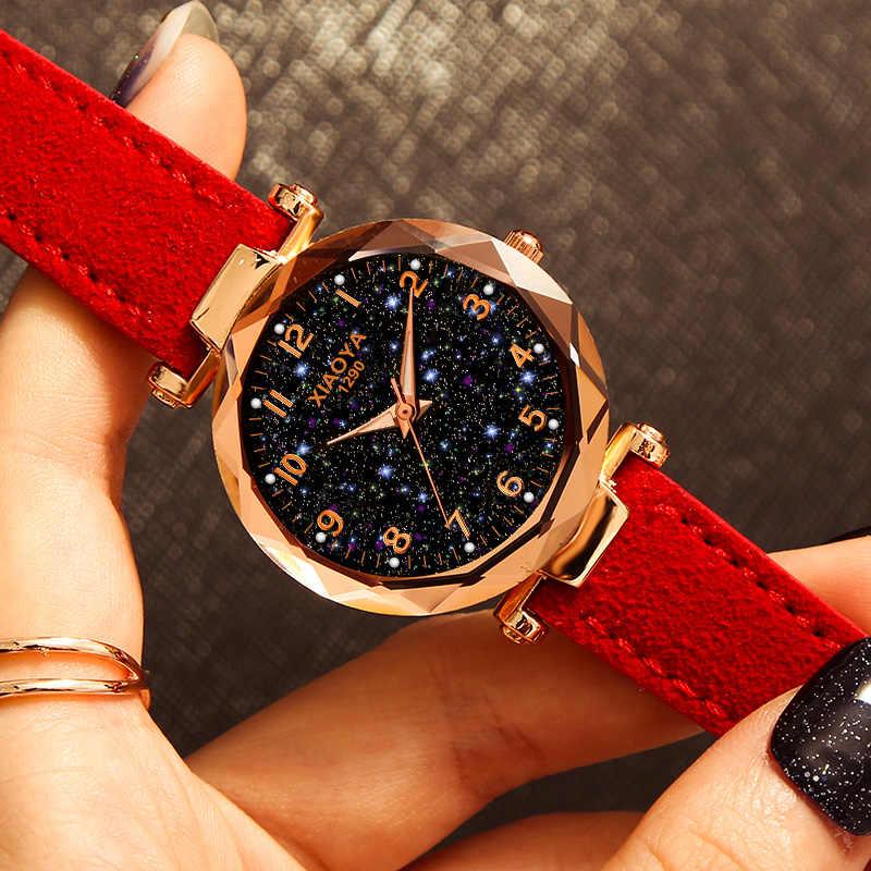 高級星空女性のファッションクォーツ腕時計赤革防水時計レロジオ feminino zegarek damski