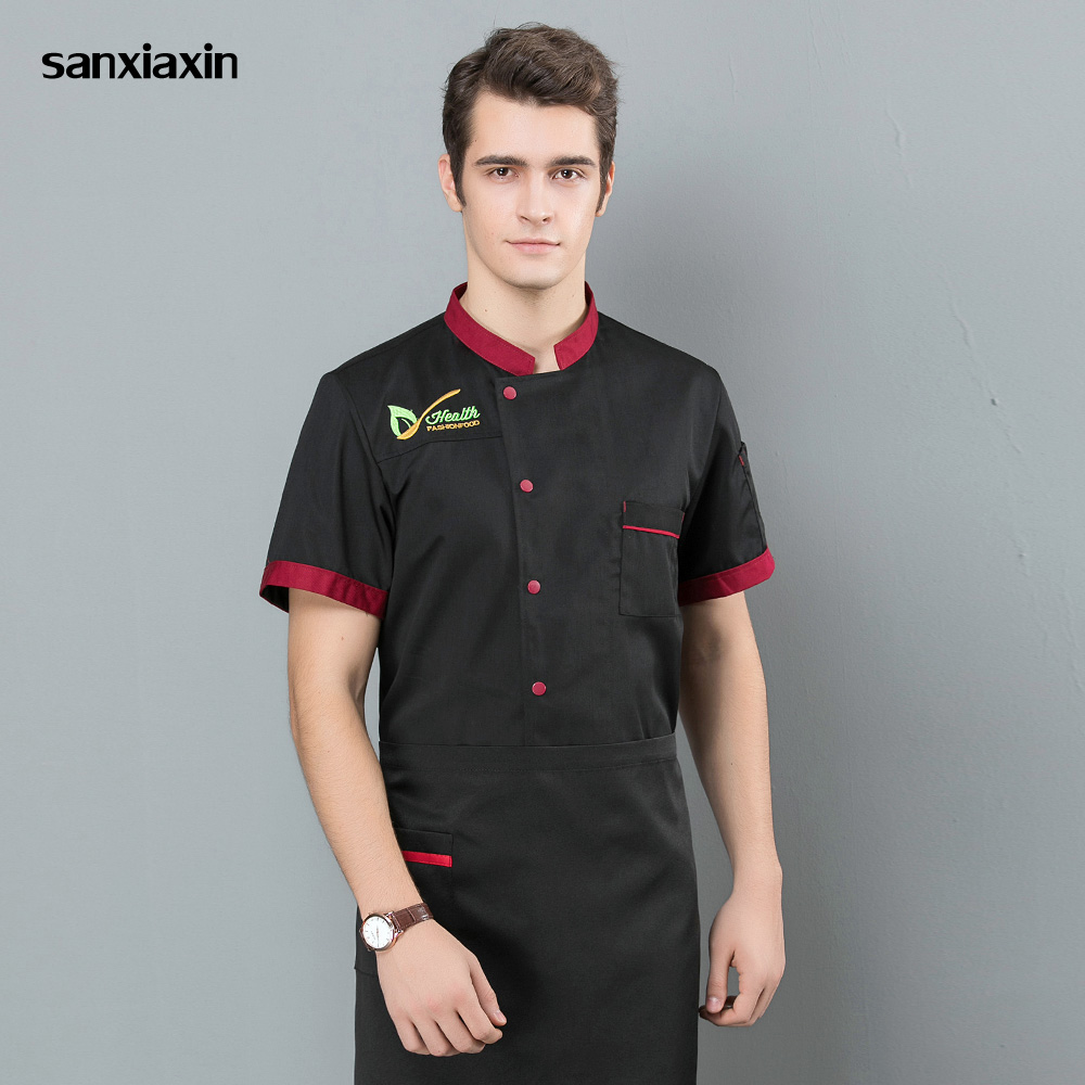 Single Breasted Embroidery Chef Uniforms New M-3XL High Quality Chef Jackets Restaurant Catering Bakery Cooker Clothes 2019 New