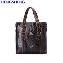 Hengsheng hot selling genuine leather crocodile men shoulder bag and cow leather men handbag for fashion buiness man bags