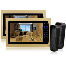 Homefong  10 Inch Color Video Door Phone Bell Intercom System Kit Alloy Weatherproof Cover Camera 1200 tvl Golden HOT SALE 2V2