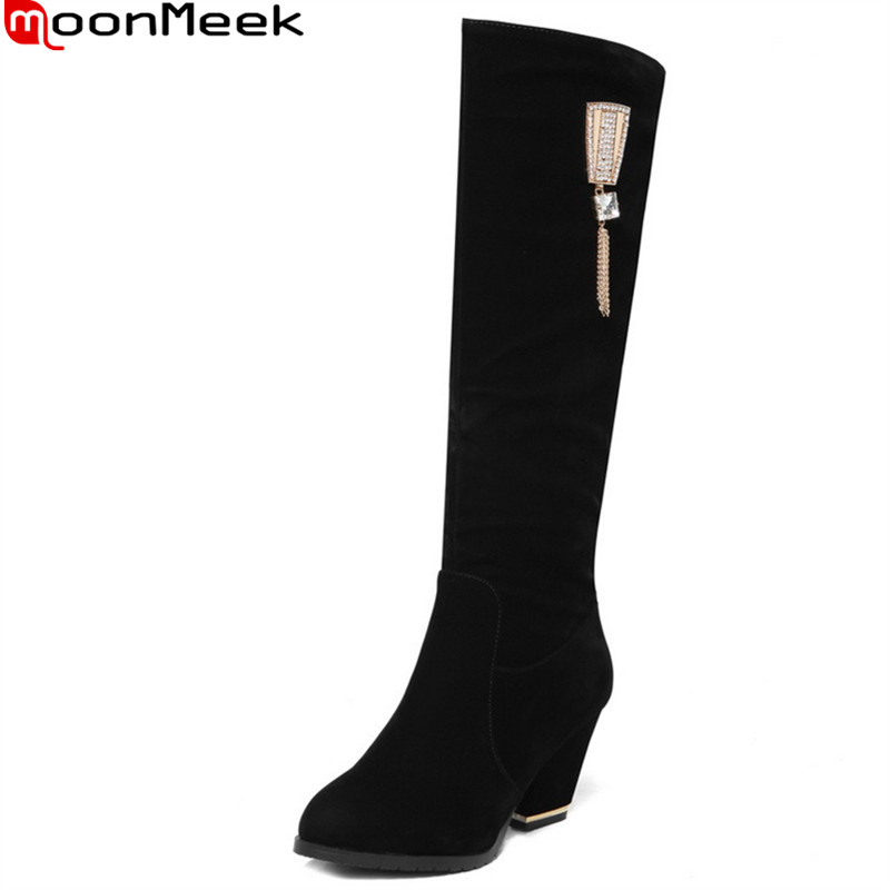 MoonMeek big size 34-43 new arrive women boots fahsion black zipper flock round toe crystal knee boots lady prom boots цена и фото