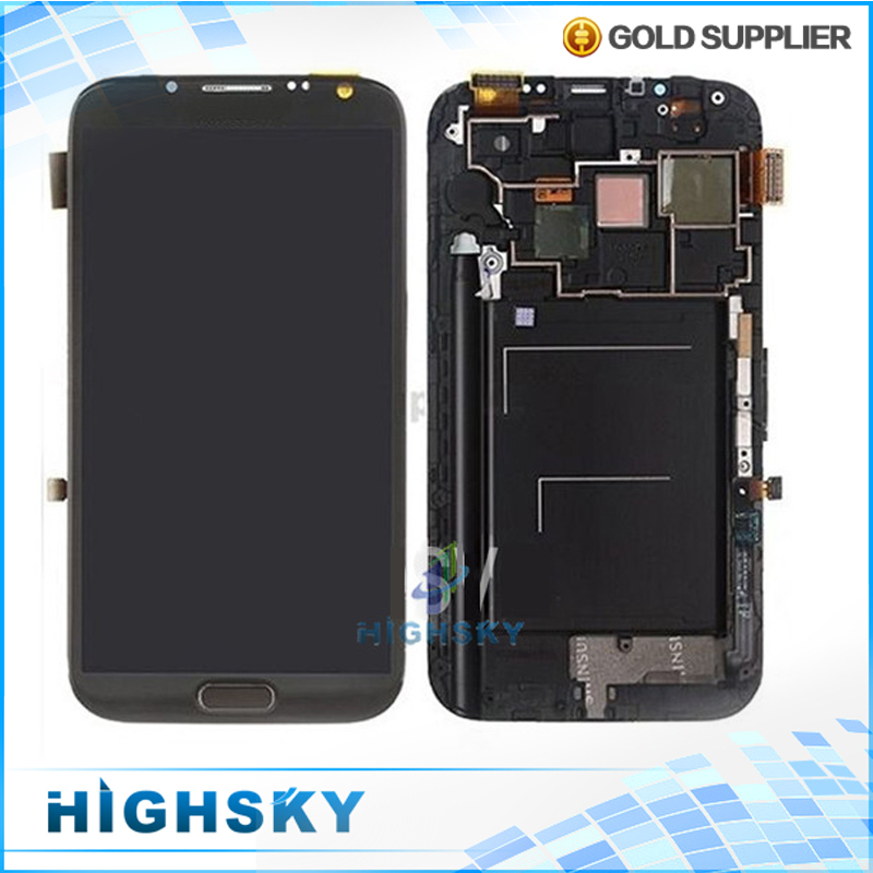 Free shipping DHL EMS  for Samsung Galaxy Note II 2 N7100 LCD screen display with touch digitizer with frame assembly 5 pcs/lot 5 pieces lot free dhl ems shipping tested for samsung galaxy s6 edge lcd display sm g925 g9250 screen with touch digitizer