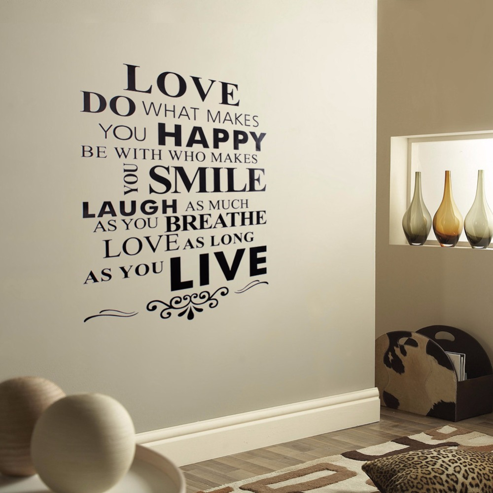 popular wall mural text buy cheap wall mural text lots from china wall sticky art design text love happy smile live removable vinyl decal wall stickers decor art