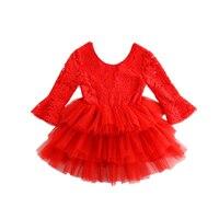 חג מולד בנות להתלבש בנות תינוק לפרוע שיפון שכבת שרוול תחרה שמלת בגדי סתיו בגדי ילדים מפלגה אדומה בנות