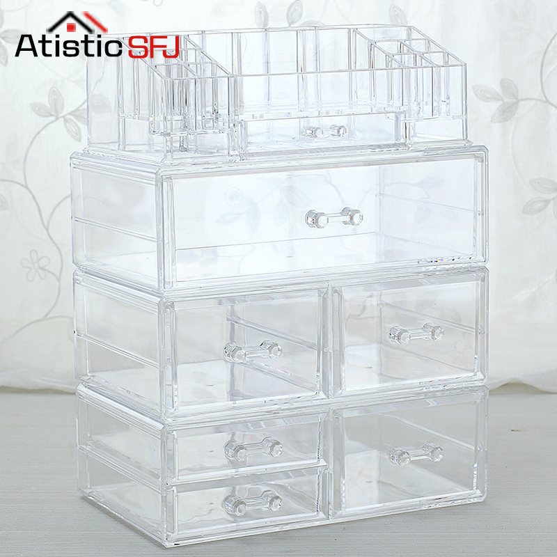 Large DIY Multiple styles Plastic Desktop Makeup Casket Box Storage Of Clear Big Acrylic Makeup Cosmetic Organizer For Cosmetic
