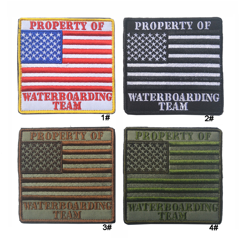 property of waterboarding team patch embroidery tactical america flag patch hook military us badge combat armband