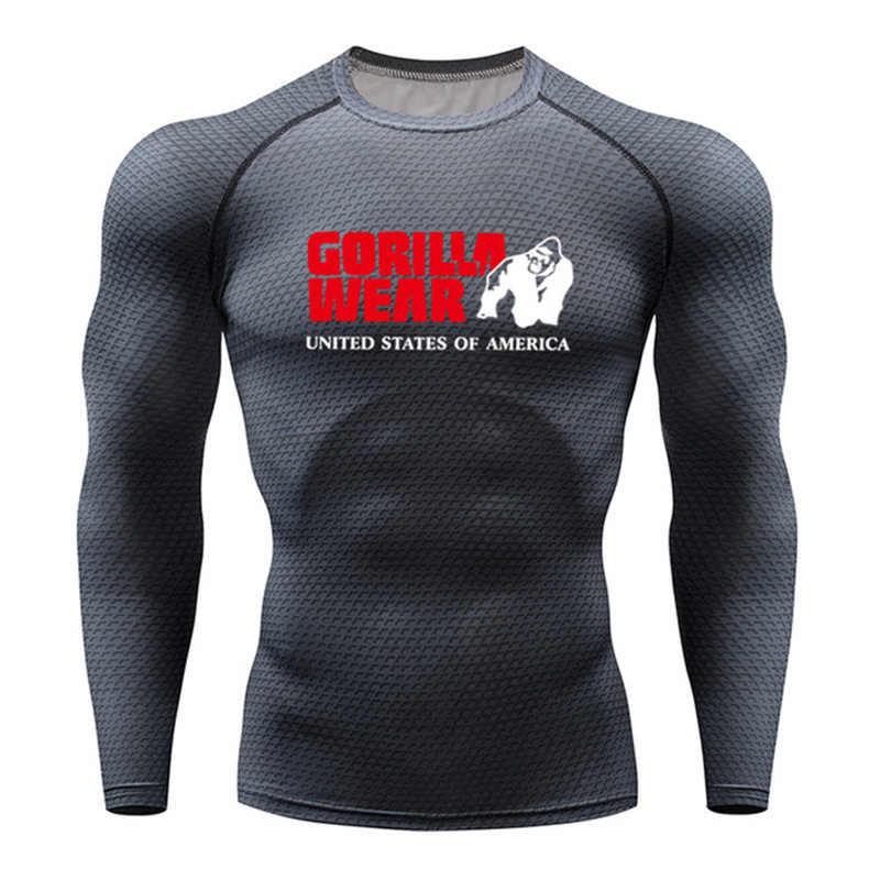 ใหม่ 3D พิมพ์เสื้อยืดผู้ชายการบีบอัดเสื้อความร้อนแขนยาว T เสื้อบุรุษฟิตเนสเพาะกายผิว Tight Tops