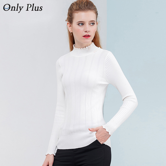 Only Plus Thin White turtleneck sweater slim head bottoming Long sleeve  Striped Women Sweater All- 5ee8e4ec4