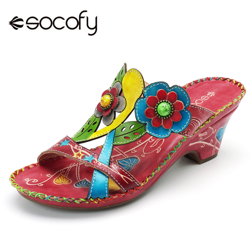 Socofy Bohemian Genuine Leather Sandals Women Shoes Vintage Handmade Flower Slip On Wedge Heels Beach Sandals Slides Shoes New socofy bohemian genuine leather shoes women sandals vintage printing forest hook loop wedge heel women slippers summer new