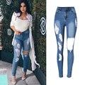 Ripped Boyfriend Jeans para Mujeres de Cintura Alta Elástica Denim Jeans Para Mujer Pantalones Lápiz Flaco Ripped Jeans Para Mujeres Pantalones P45