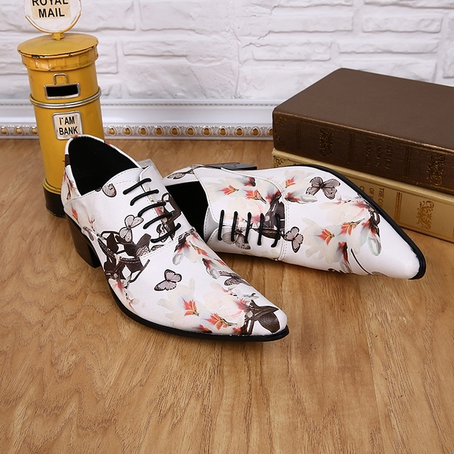 Classic elegant mens pointed toe dress shoes high heels white print genuine leather lace up oxford mocassin homme male shoes