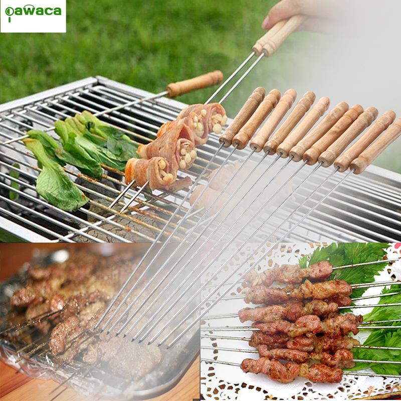 BBQ Barbecue Skewer Roast Stick Stainless Steel Needle 10PCS 30CM Food Camping Picnic vegetable Roasting Needle Forks bbq Tools