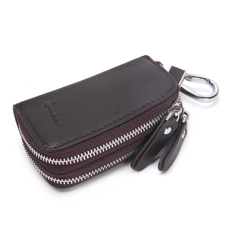 CONTACT'S Genuine Leather Car Key Wallets Fashion Key Holder Housekeeper Keys Organizer Double Zipper Keychain Case Key Pouch 2