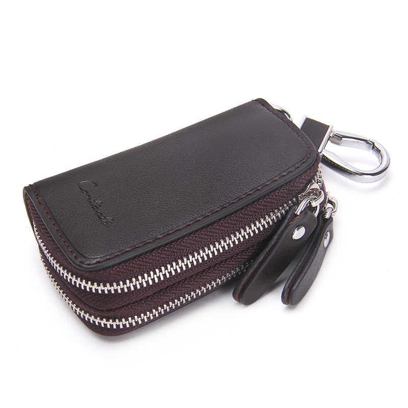 CONTACT'S oryginalne skórzane portfele na klucze samochodowe moda brelok Organizer do kluczy dla gospodarza podwójny zamek błyskawiczny brelok etui woreczek na klucze