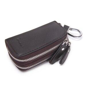 Image 3 - CONTACTS جلد طبيعي سيارة مفتاح محافظ موضة مفتاح حامل مدبرة المنزل مفاتيح المنظم مزدوجة سستة المفاتيح حافظة مفتاح الحقيبة