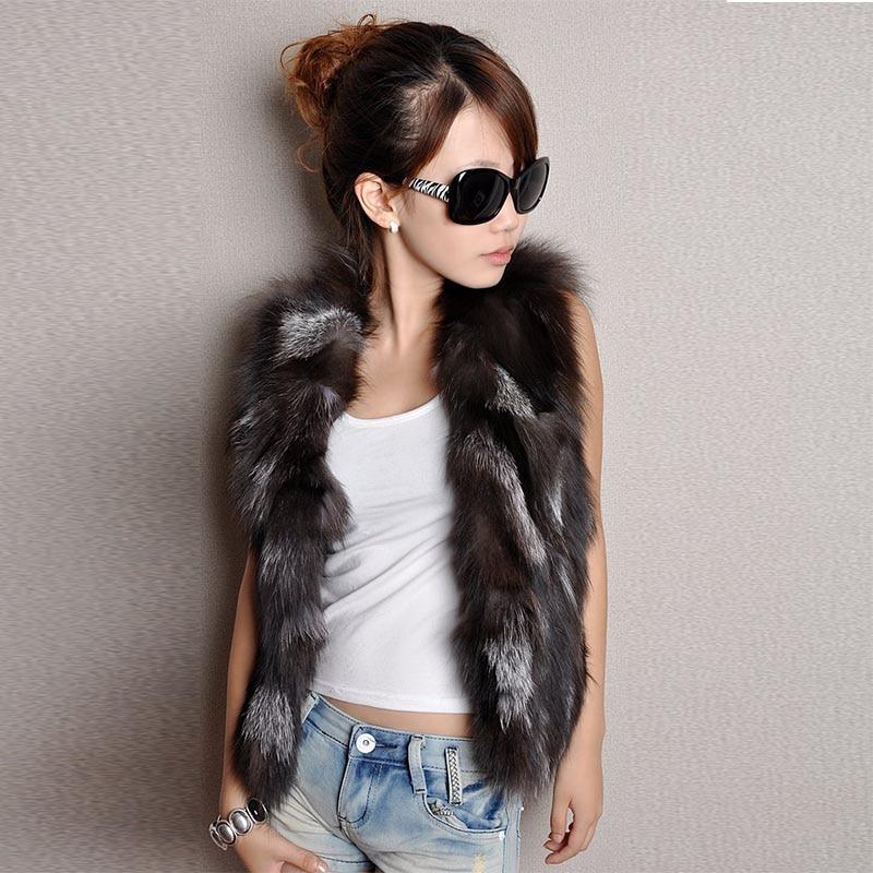 New Winter Lady Real Fox Fur Vest Skulder Kort Jacket Women Fashion - Damkläder