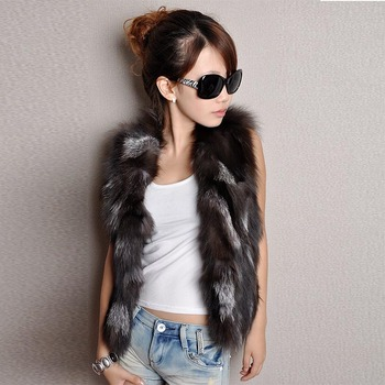 New Winter Lady Real Fox Fur Vest Shoulder Short Jacket Women Fashion Genuine Fur Coat Vest Women Real Natural Fox Fur Coats image