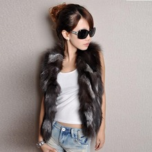 New Winter Lady Real Fox Fur Vest Shoulder Short Jacket Wome