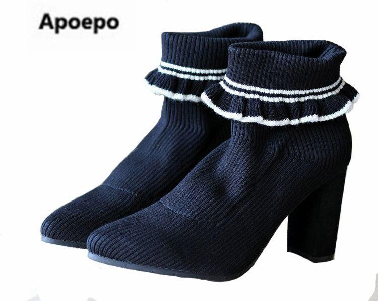 Nueva Limited Invierno Tacón Las Ventas Mujeres De Stretch Negro Blanco Para Alto Marca Fabric Ruffles Tobillo Botas Zapatos rgqXrBa8