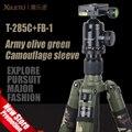 XILETU T-285C + FB-1 Profissional Tripé De Fibra De Carbono Kit Exército Camuflagem verde oliva Militar manga Panorâmica Bola Cabeça Monopé