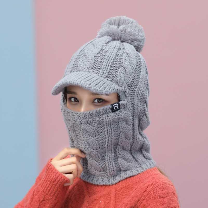 2018 คออุ่นหมวกถักขนสัตว์ Pompoms หมวกฤดูหนาวหมวกสำหรับสาวถักหมวก Balaclava หมวก Gorras bonnet