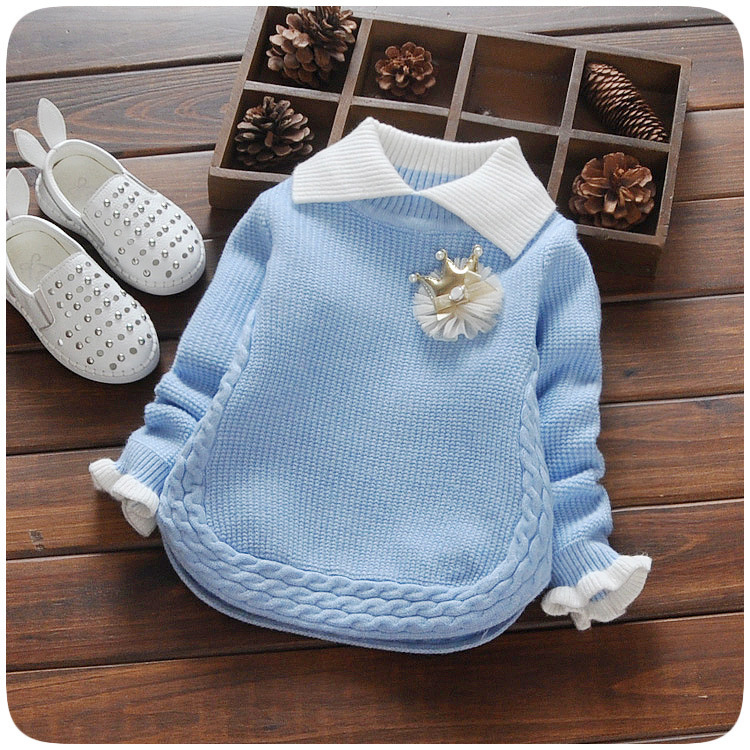 2018 New Autumn & Winter Newborn Girls Sweaters Cotton Fashion Flower Pattern Clothing Children Sweaters For 0-2 Years Hsp205