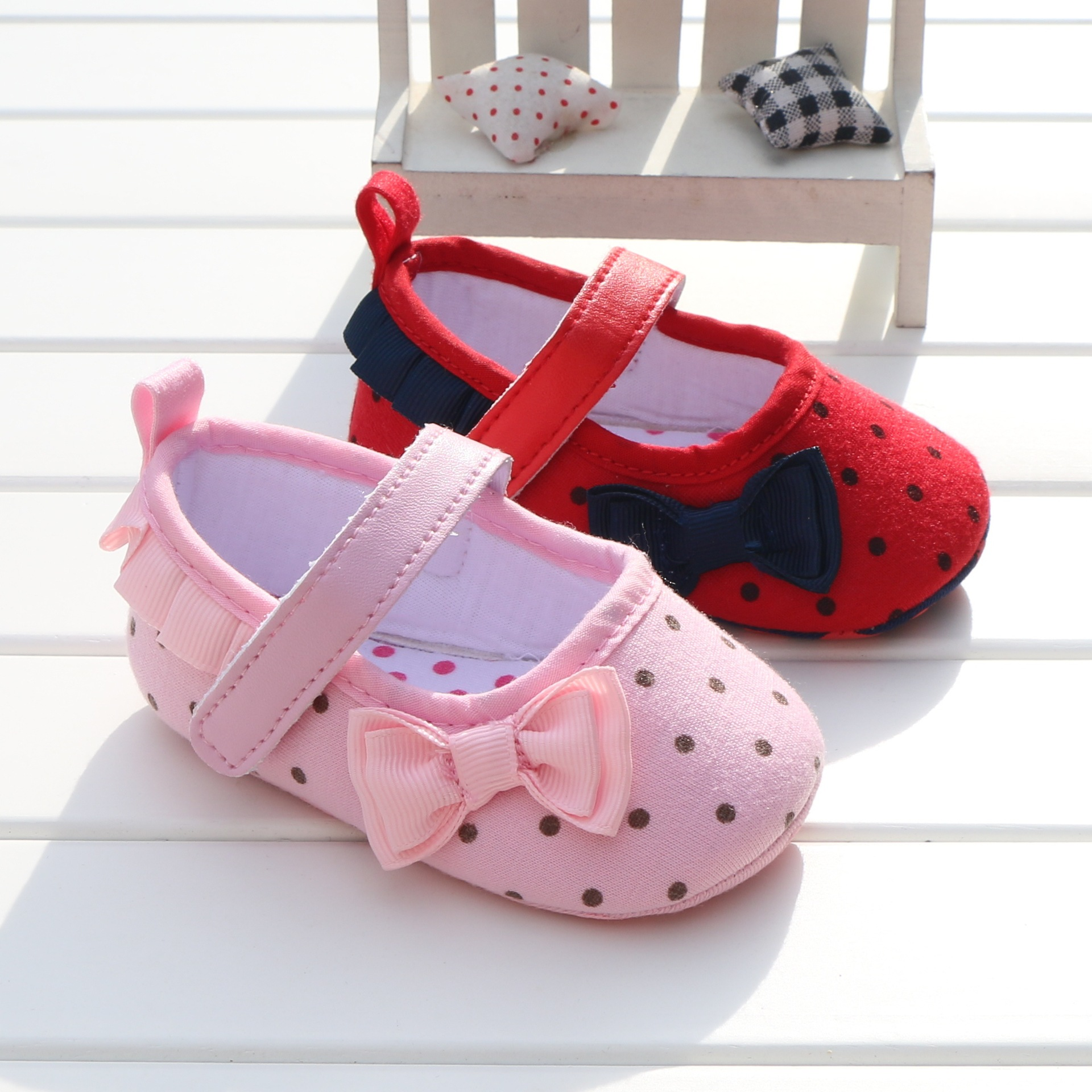 2017 Pink Polka Dot Princess Shoes Baby First Walkers Cute ...