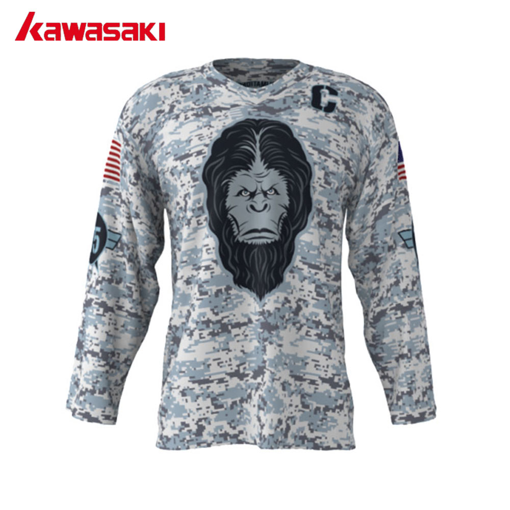 Kawasaki Custome Ice Hockey Jerseys Angry Yeti Camouflage Youth Adults  Breathable Training Hockey Jersey 75  Plus Size XS-3XL 90efdce644d