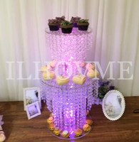Luxurious Crystal Bead Chain Acrylic Cake Stand Wedding Cake Stand With Light Line (No AA Battery) Wedding Centerpiece Display