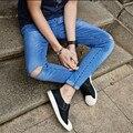 2016 nueva marca moda entallada Destroyed Torn Jeans / New Blue Ripped Jeans hombres con agujeros pantalones para hombre más tamaño 28-33